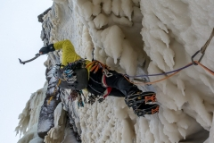 Joe Terravecchia on the steep crux section of Dreamline