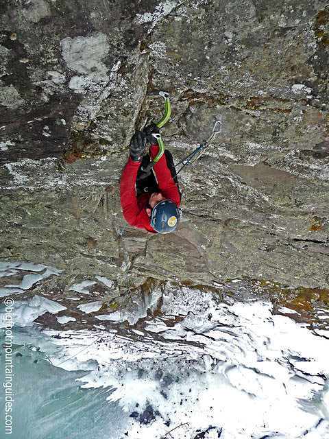 "Matt McCormick on the first ascent of ""Hydropower"", M9-, Wi5 in the Black Chasm, Catskills, NY."