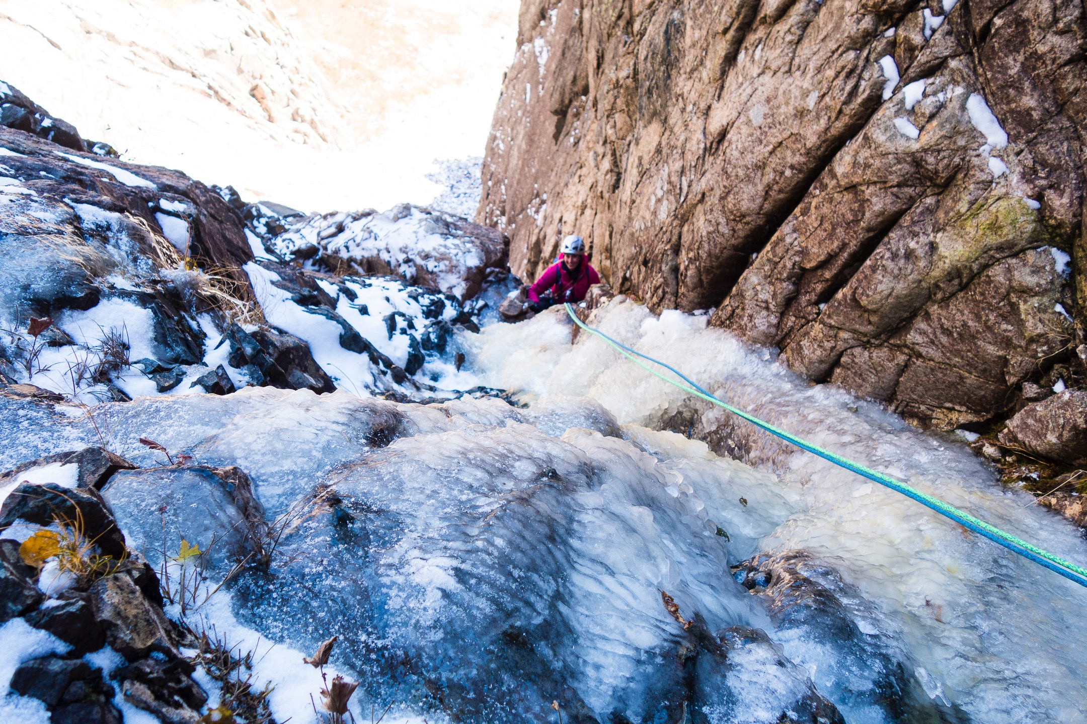 Pitch two was dry on the traverse, a bit of everything in the hose, and sticks up top. Alexa finishes it off, photo by Majka Burhardt.