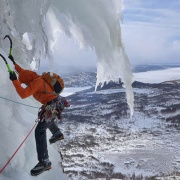 Ryan climbing some exposed ice during the trip - Alden Pellett