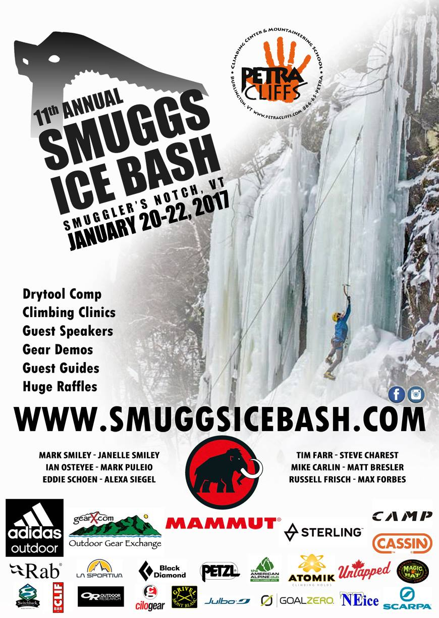 Here it is. Poster for the 11th Annual Smuggs Ice Bash! Psyched for a great weekend climbing and celebrating with you all.