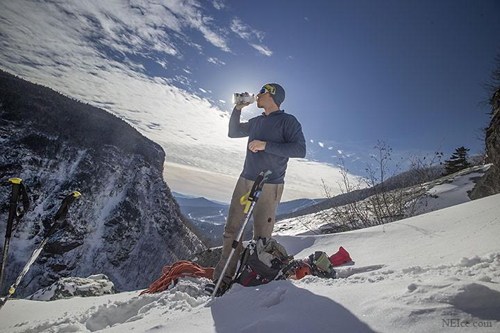 Hydration during ice climbing is a must for high performance