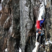 Matty Bowman on the wet and thin Black Dike Traverse. 2-23-17