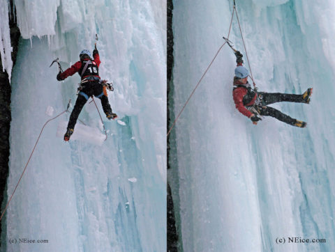 Guy Lacelle takes a lead fall during a competition at Festiglace in Quebec. A block of ice unexpectedly caught his rope.