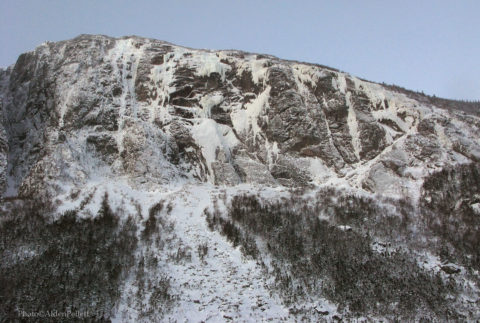 The Cholesterol Wall, a steep wall that is host to a collection of big world-class ice and mixed climbing routes at Newfoundland's Ten Mile Pond.